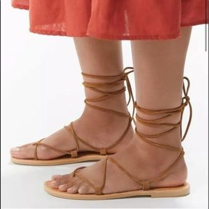 NWT UO Neutral Suede Gladiator Sandals